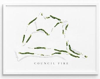 Council Fire Golf Club   Chattanooga, TN   Golf Course Map, Golfer Decor Gift for Him, Scorecard Layout   Art Print UNFRAMED