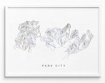 VINTAGE PARK CITY SKI AREA TRAIL MAP SILK BOXER SHORTS SIZE XL