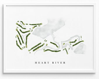 Heart River Golf Course   Dickinson, ND   Course Map Layout, Golf Painting, Golf Gift for Him, Paper Anniversary   Art Print UNFRAMED