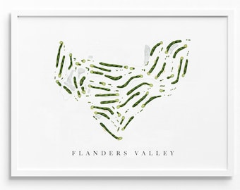 Flanders Valley Golf Course   Flanders, NJ   Course Map Layout, Golf Painting, Golf Gift for Him, Paper Anniversary   Art Print UNFRAMED