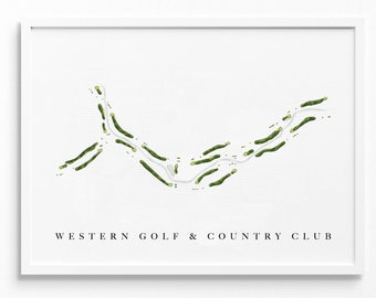 Western Golf & Country Club   Redford, MI   Course Map Layout, Golf Painting, Golf Gift for Him, Paper Anniversary   Art Print UNFRAMED