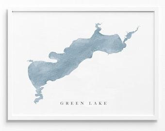 Green Lake   Wisconsin   Lake Map, Lake Decor Gift, Lake Layout   Watercolor-style Print UNFRAMED