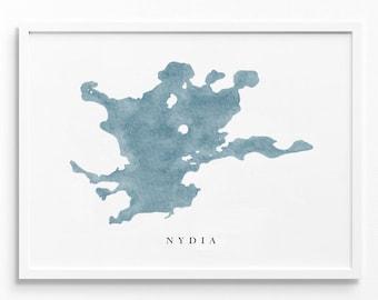 Nydia Lake   Ontario, Canada   Lake Map, Lake Decor Gift, Lake Layout   Watercolor-style Print UNFRAMED