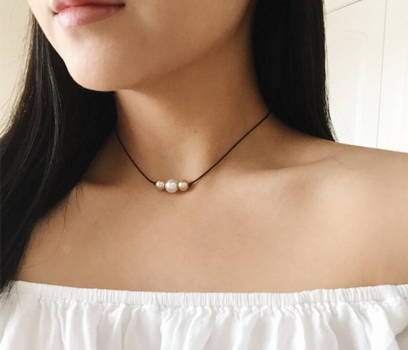 6be5e4ec1ce Triple White Pearl Choker, Simple Pearl Choker, White Pearl Necklace, Black  Cord Choker, Simple, Delicate, Dainty, Feminine