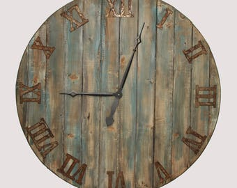 """20/36"""" Oversized wall clock. Rustic wall clock. Solid Wood Clock. distressed to look like reclaimed wood"""