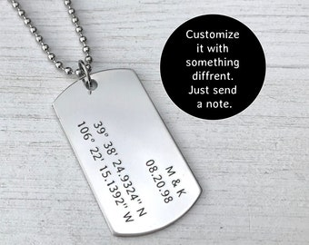 Custom4U Men Stainless Steel Dog Tag Pendant with 22+2 Wheat Chain,Adjustable Dog Tag Necklace with Free Engraving,Men Personalised Jewellery Gift
