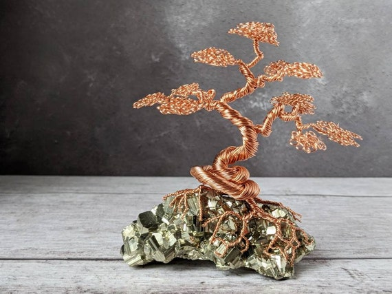 Copper Wire Bonsai Tree Sculpture On A Pyrite Base Etsy