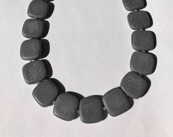 Handmade Minimalist Necklace with Flat Square Geometric Glass Beads, Silicone Spacers and Magnetic Clasp