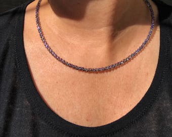 Handmade Minimalist Necklace with Magnetic Clasp and Clear Black Diamond Aurora Borealis Czech Glass Peanut Beads