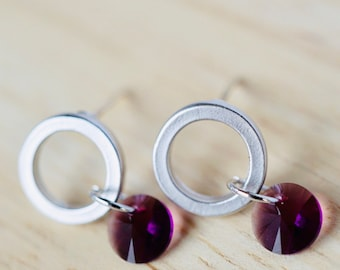 76518d3b9126a Matte silver circle shaped stud earrings with round faceted amethyst color  crystal by Swarovski charms