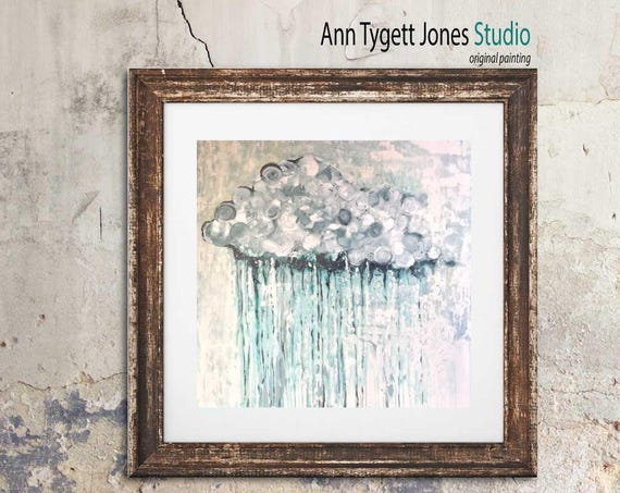 Abstract rain art, commercial art, lobby art, rain, cloud art print of RAIN CLOUD, rain art, modern interior decoration,  handmade wall art