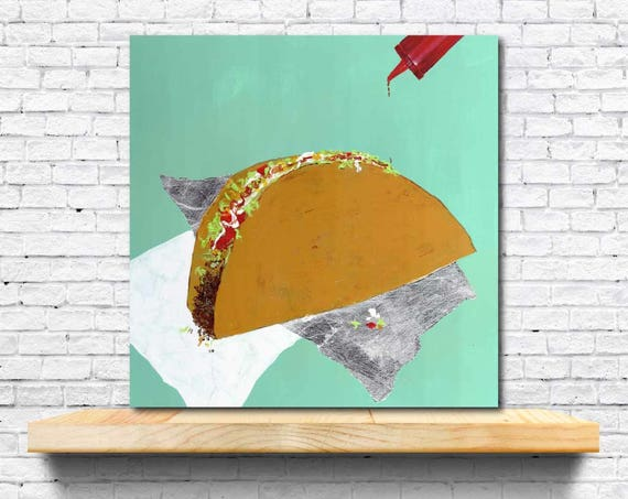 Taco painting, TACO TUESDAY, original abstract painting, taco art, food styling, food art, modern interior decor, hot sauce art, silver foil