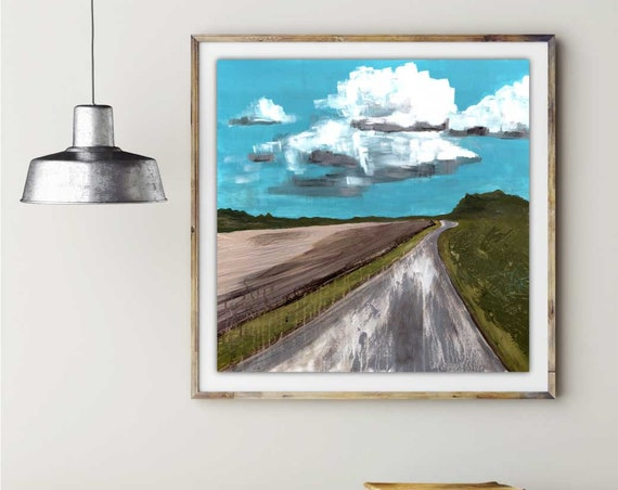Afternoon Walk Acrylic abstract print, modern landscape, contemporary wall art, interior staging, commercial art, bright sky art, giclee