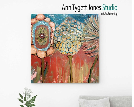 Flower painting, Three Flowers, abstract wall art, contemporary art,  modern interior, abstract floral painting, modern art floral art