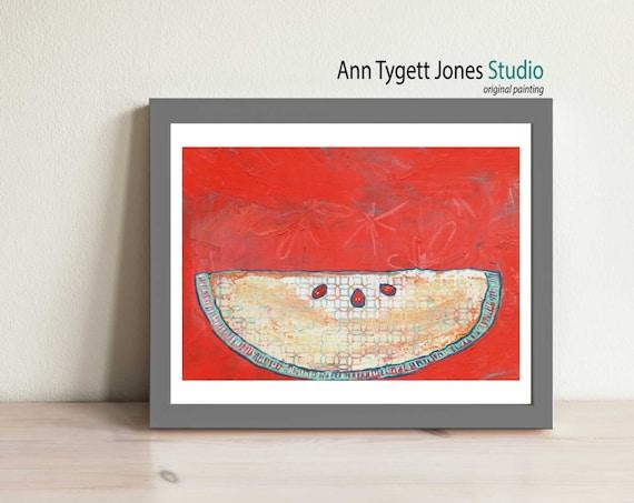 abstract APPLE slice, apple art, commercial art, decor, original painting of apple, handmade kitchen art, art for kitchen, modern wall art,