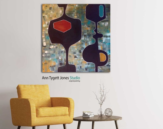 Mid century modern abstract, Original abstract acrylic painting, modern interior decor, wall art, contemporary art, retro art, hipter art,