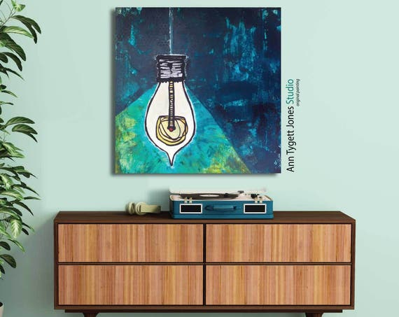 Original abstract painting, illustration, light bulb art, acrylic abstract painting, modern interior decor, contemporary, handmade wall art,