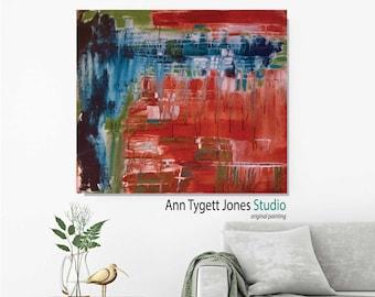 Original abstract acrylic painting, wall art, handmade canvas painting, modern interior decor, contemporary art, mid century modern, orange