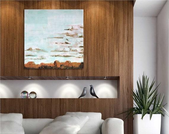 Desert painting, desert sky art, desert art, mesa art, acrylic landscape, gold leaf painting, interior design, modern landscape, mid century