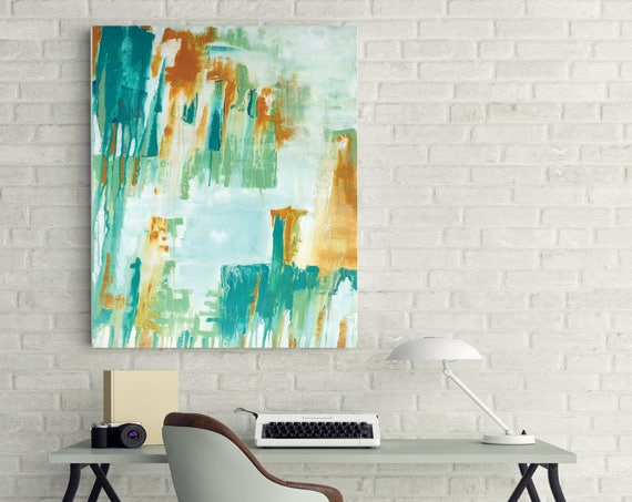 mid century modern abstract, Original Teal Abstract Painting, modern interior contemporary art, office wall art, commercial art work, teal