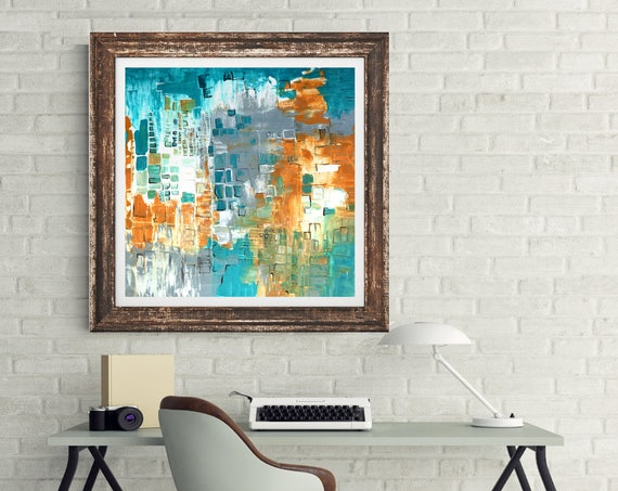 Teal original abstract painting, modern interior wall art, abstract art print, teal and yellow art, contemporary art, modern interior decor