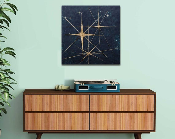 Star retro painting, mid century modern art, stars, night sky, retro art, celestial wall art, interior staging, gold leaf, interior styling