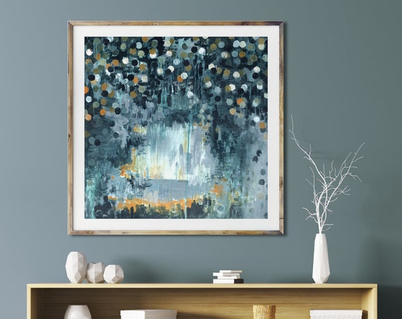 Mid century modern art print, modern abstract art print, modern mid century art, abstract art print, blue abstract, interior wall art, blue