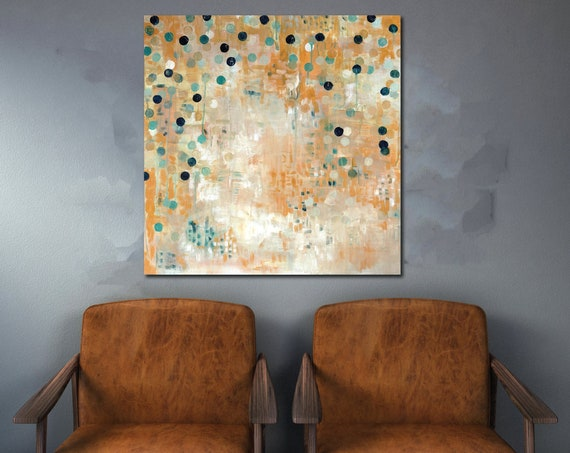 Mid century modern art, abstract painting, yellow art, geometric abstract painting, commercial art, interior styling, contemporary abstract