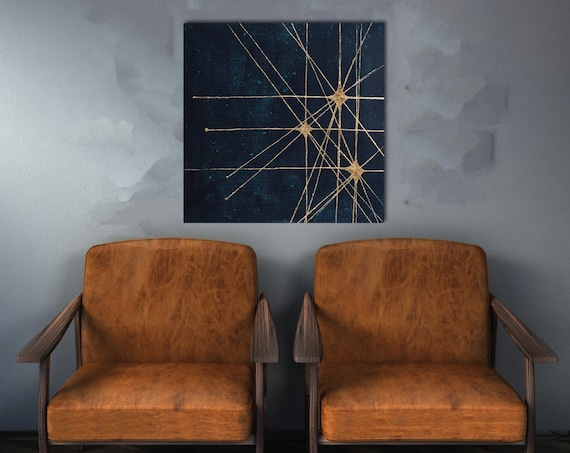 Starburst retro painting, mid century modern art, star, celestial, retro art, commercial art, interior staging, gold leaf, interior styling