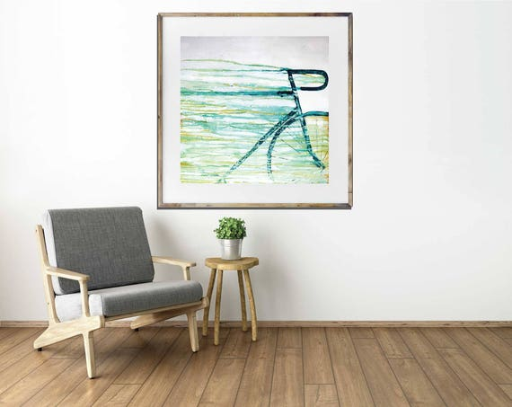 SPEED giclee art print, abstract bike art, bicycle art print, modern interior decor, contemporary wall art, acrylic painting bike art