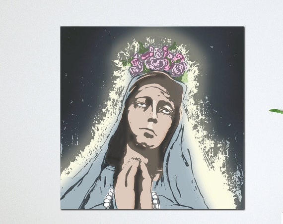 Our Lady Pray for Us, Catholic art, Mother Mary, Mother of Jesus Christ, Sacred Image, Heavenly Mother, Catholic art print, Mother of God
