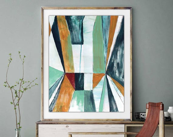 Abstract Print, giclee art print, block art, geometric abstract art, modern interior decor, shape art, colorful art print, color block art,