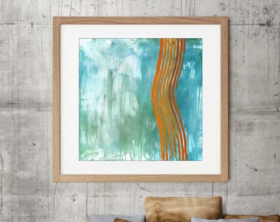 Abstract art print, commercial art, line art, retro mod art, mid century modern, modern abstract, interior design, interior decor, teal