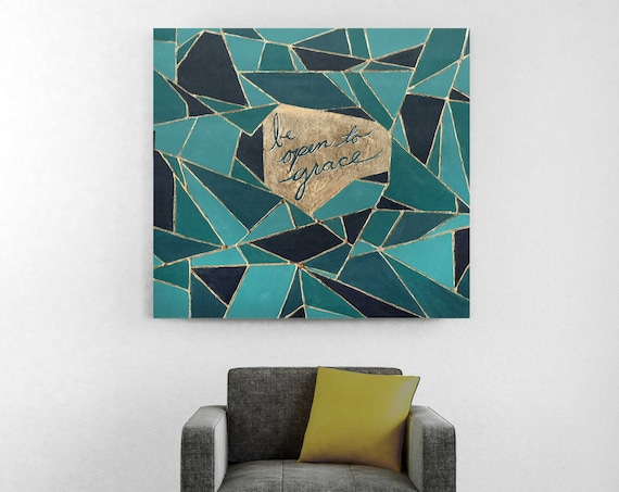 Geometric art, original abstract painting, inspirational wall art, religious quote, grace, gold art, geo, teal abstract painting, modern art