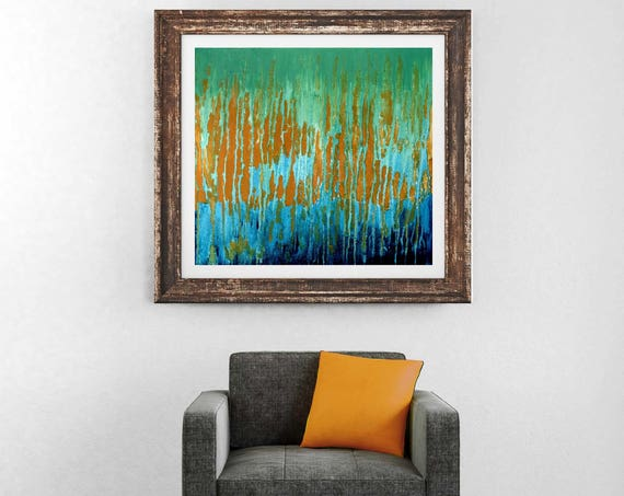 Mid century modern abstract print, blue abstract, green abstract, giclee print, contemporary abstract, commercial art, interior wall art