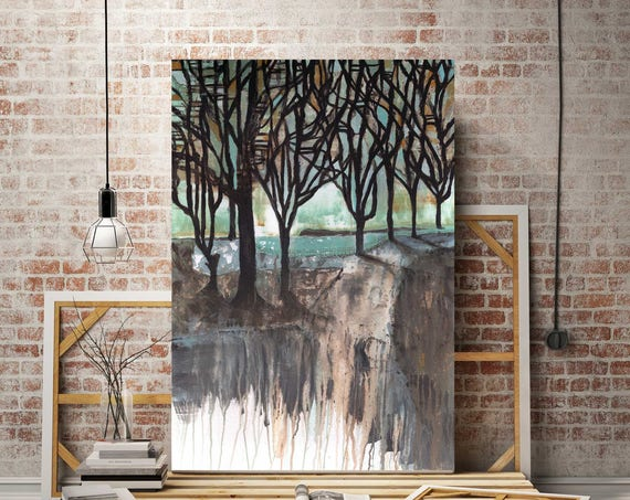 Large painting, autumn tree painting, abstract landscape, shadows, abstract fall landscape, modern abstract, fall tree art, commercial art