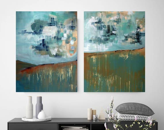 abstract landscape paintings, abstract diptych, dining room art, commercial artwork, lobby art, restaurant art, big sky landscape, diptych