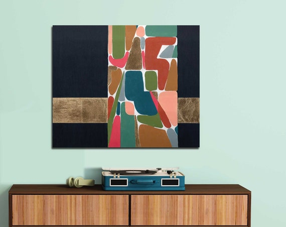 Mid Century Modern Art, abstract mid century, gold foil art, original abstract painting, interior design, interior staging, lobby art, retro
