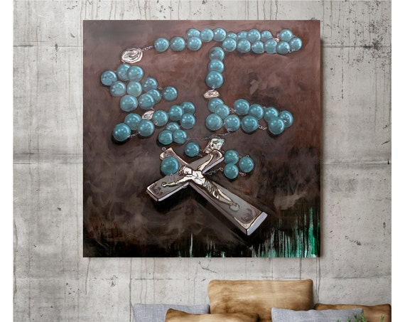 Rosary art, Mother Mary, Mother of Christ, Catholic art, Sword, prayer, silver leaf, religious painting, rosary beads, devotional painting,