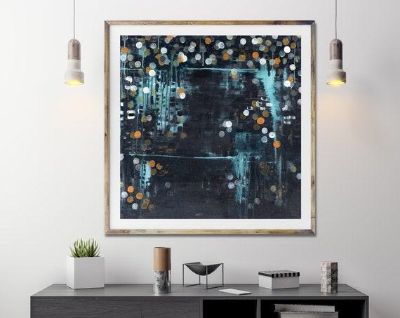 Mid century modern, abstract art print, modern art print, geometric dot, blue abstract wall art, gallery art print, wall art, commercial art