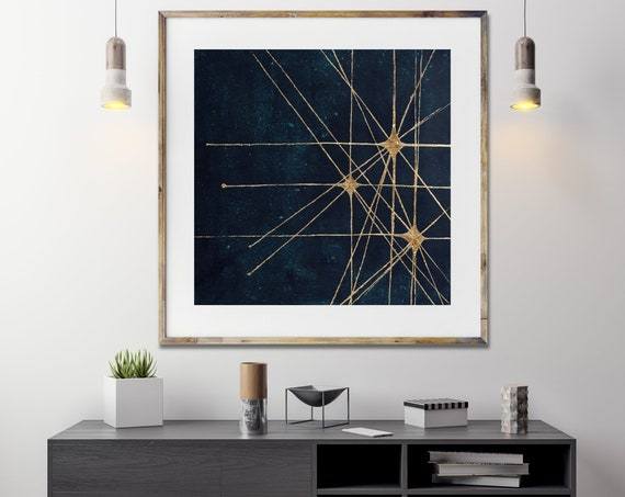 Mid century star burst, art print , retro style star art, celestial, mid century modern art, modern abstract art print, gold leaf art