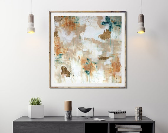 Gold Teal Abstract, abstract art print, acrylic painting, modern interior decor, gold leaf painting, modern abstract, mid century modern art