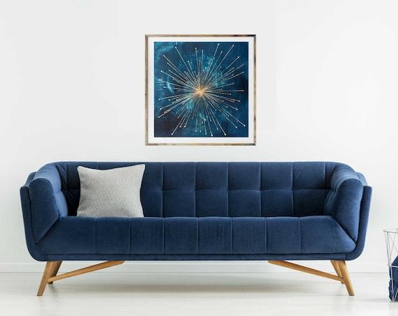 Galaxy 2, giclee art print, mid century modern art, modern mid century art, sun, starburst, gold leaf, celestial art, space art, retro sun