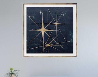 Star retro art print, mid century modern art, stars, night sky, retro art, celestial wall art, interior staging, gold leaf, interior styling