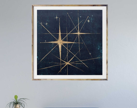 Star retro art print, mid century modern art, stars, night sky, retro art, celestial wall art, interior staging, gold leaf, interior styling