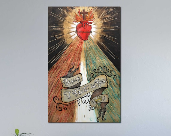 Divine Mercy painting, Sacred Heart of Jesus, gold leaf, Crown of Thorns, Catholic art, Inspirational Saying, Jesus art, Christian art, love