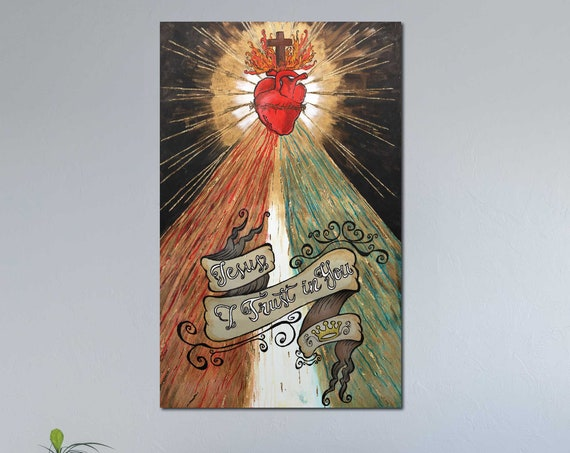 Divine Mercy painting, Sacred Heart of Jesus, gold leaf, Crown of Thorns, Mercy, Catholic art, Inspirational Saying, Jesus Christ, religious