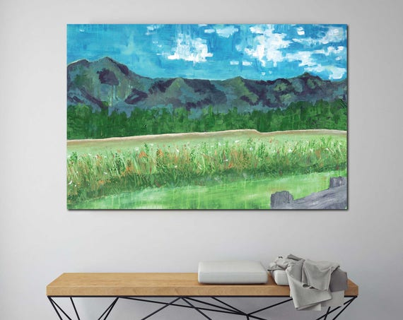 Abstract Mountain Landscape, original abstract painting, impressionistic mountain, wild flowers, interior decor, contemporary art, mountains