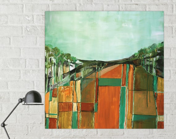 Mid-Century Modern style abstract painting, abstract landscape painting, mid century inspired art, contemporary abstract, abstract field art