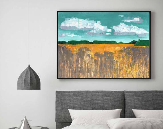 Abstract Landscape, Giclee art print, landscape, fall wheat field, print of autumn landscape, interior design, commercial art fall art print